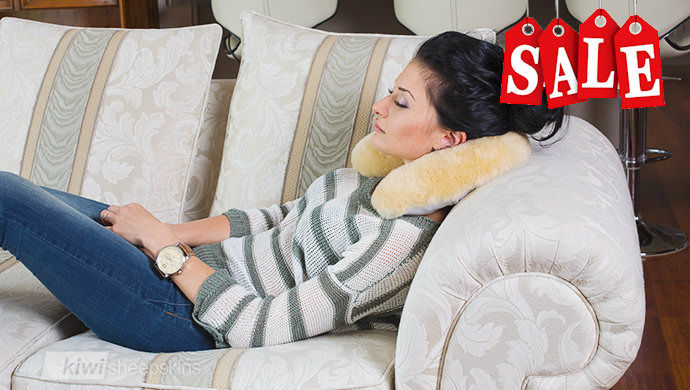 Sheepskin travel neck cushion