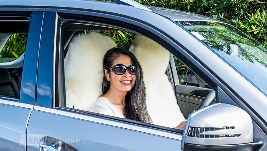 Sheepskin car seat covers warm in winter, cool in summer