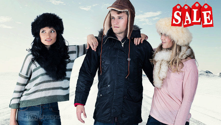 Luxurious sheepskin hats in extreme cold