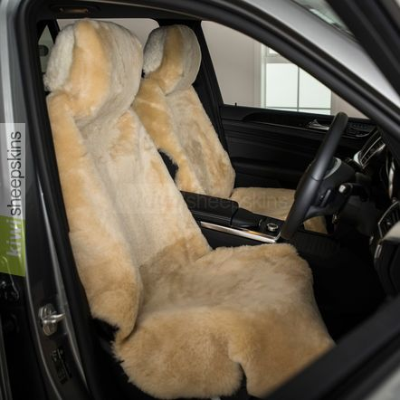 Sheepskin car seat covers - shorn short wool Honey