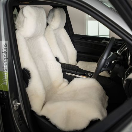 Sheepskin car seat covers - shorn short wool White
