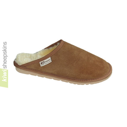Sheepskin slip-on clog scuff slipper - front view