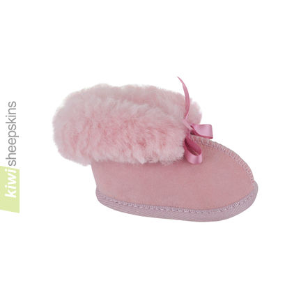 Sheepskin Baby Booties - Pink color