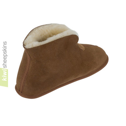 Soft Sole Sheepskin Bootie Slippers - Chestnut collar up