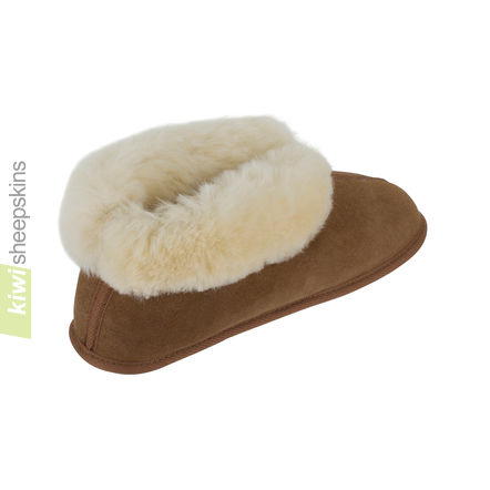 Soft Sole Sheepskin Bootie Slippers - Chestnut rear