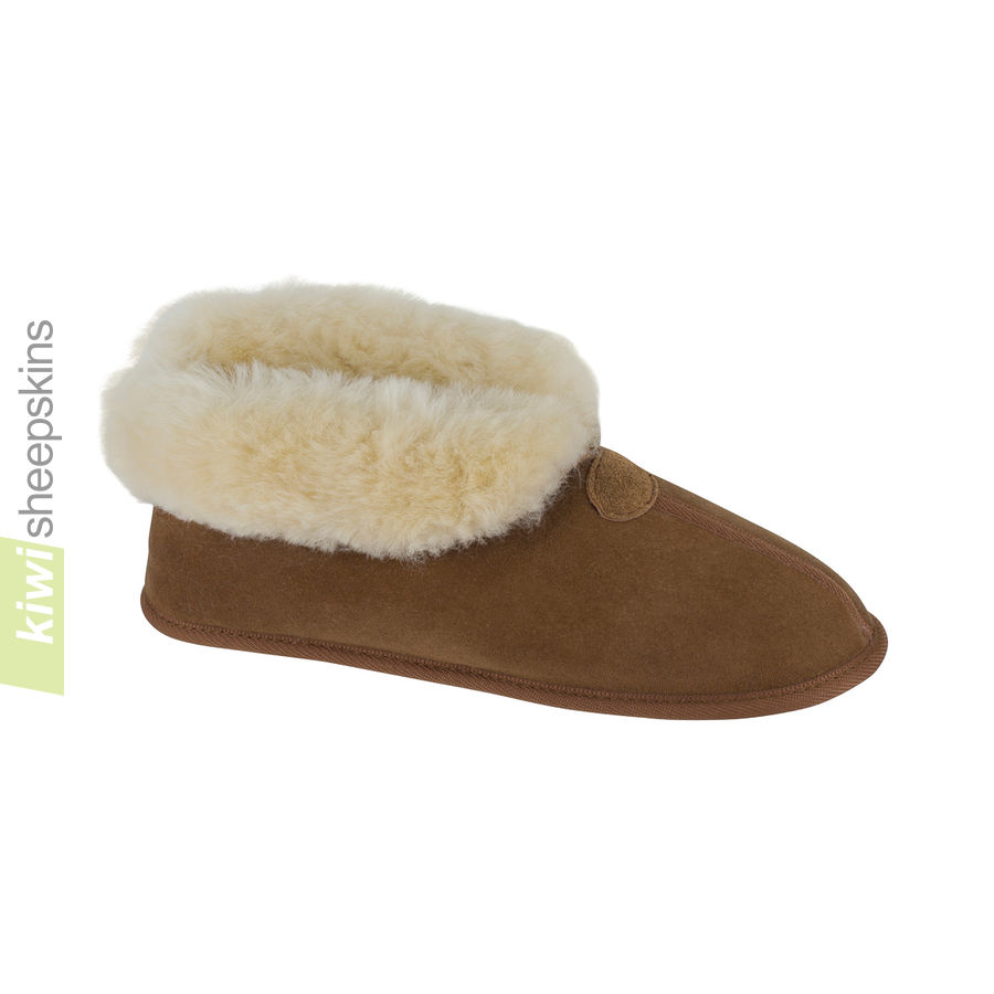 Soft Sole Sheepskin Bootie Slippers - Chestnut color