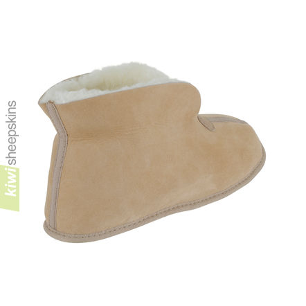 Soft Sole Sheepskin Bootie Slippers - Sand collar up