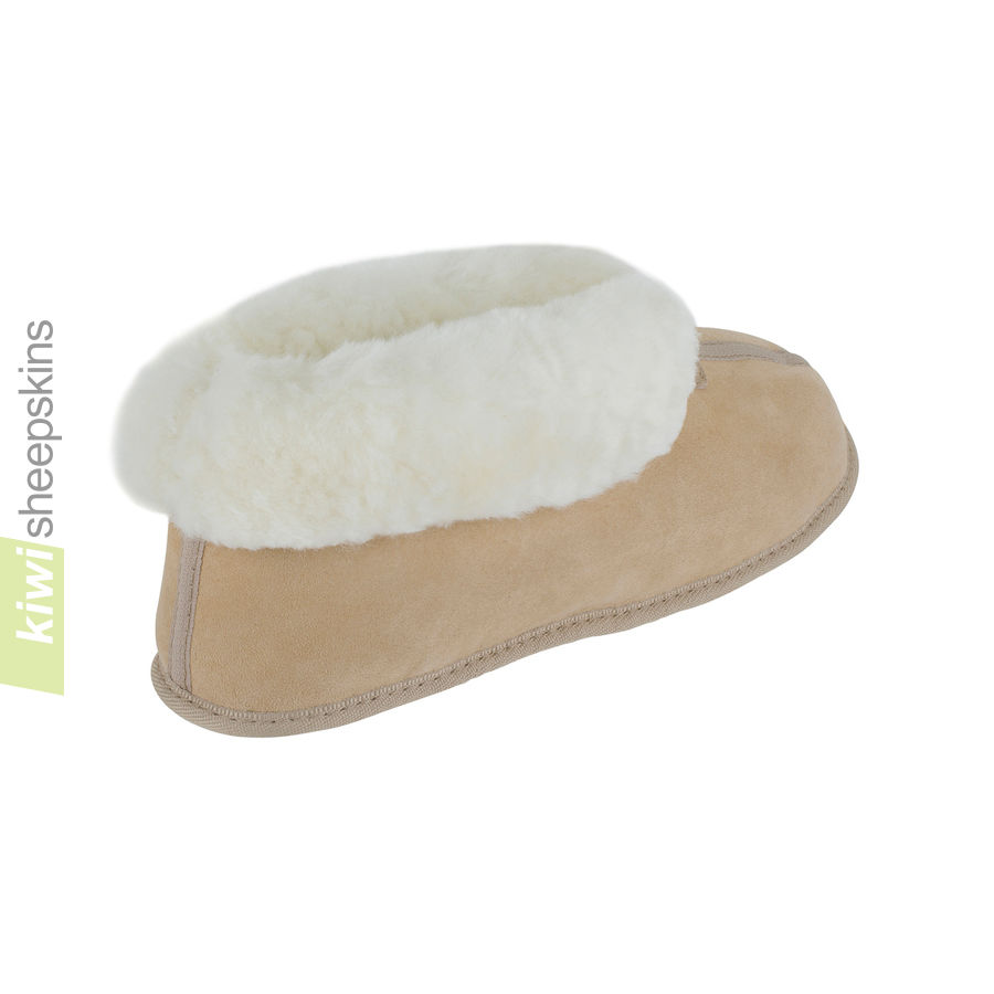 Soft Sole Sheepskin Bootie Slippers - Sand rear