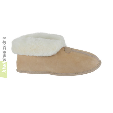 Soft Sole Sheepskin Bootie Slippers - Sand color