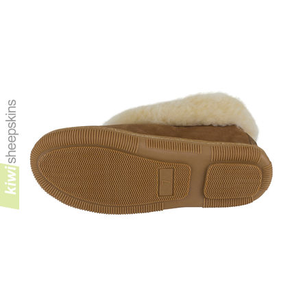 Bootie Sheepskin Slippers - TPR side-stitched sole