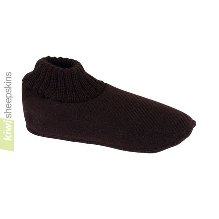 Slipper Socks with Sheepskin - Chocolate color