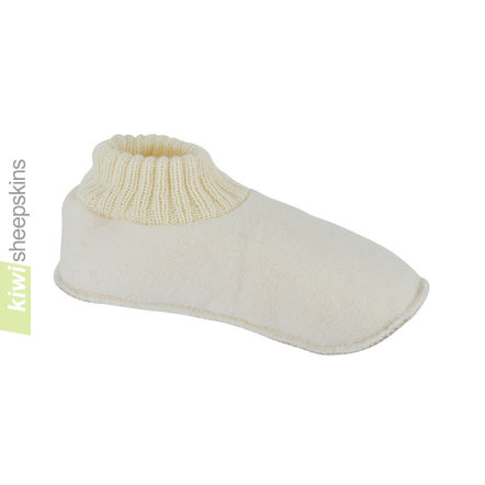 Slipper Socks with Sheepskin - White color