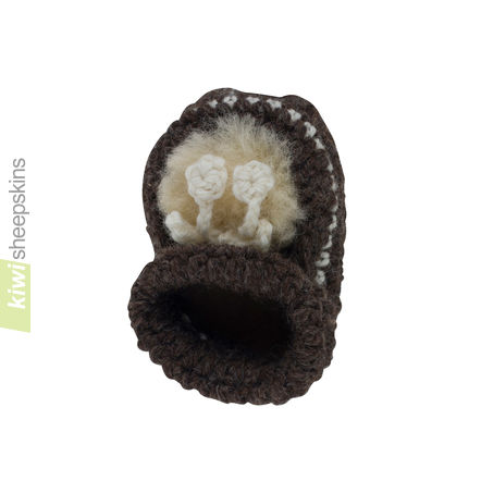 Lambskin baby booties - top view