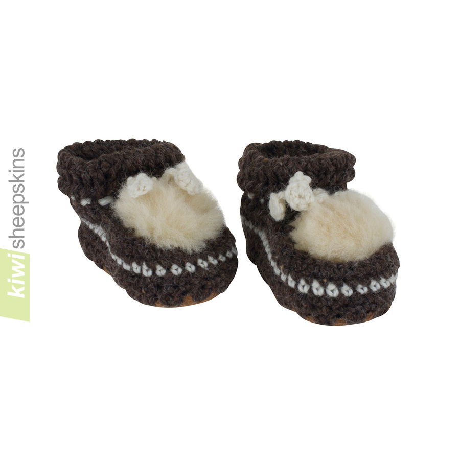 Crocheted Wool/Lambskin Baby Bootee