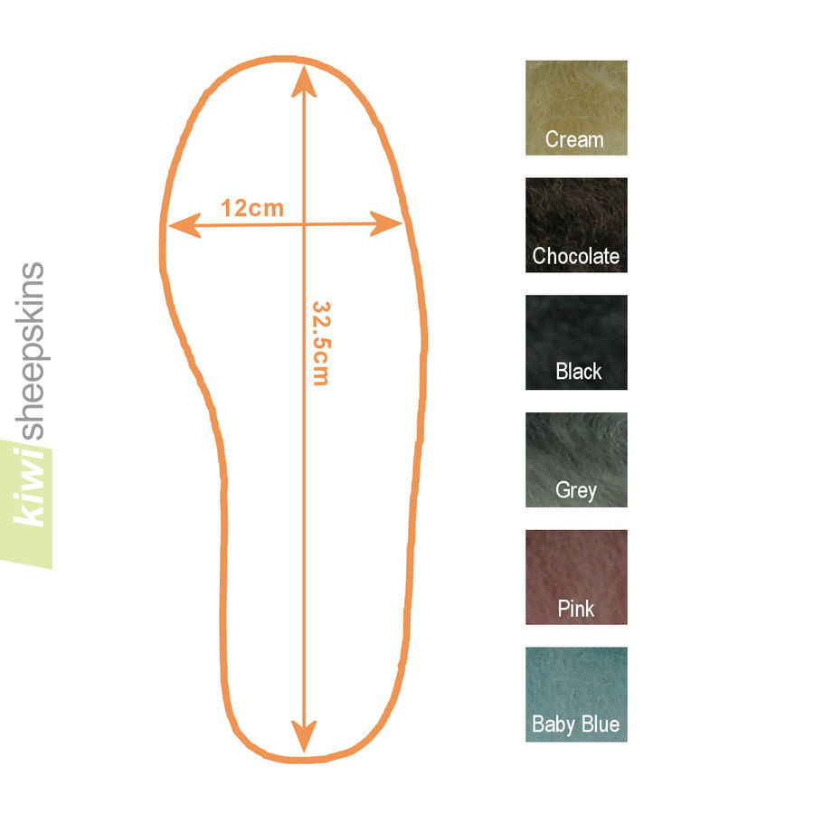 Innersole outline with size and colors