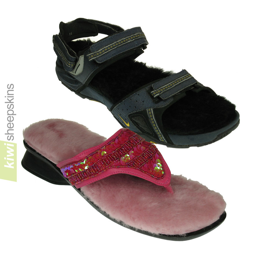 Sheepskin insoles for sandals and flip-flops