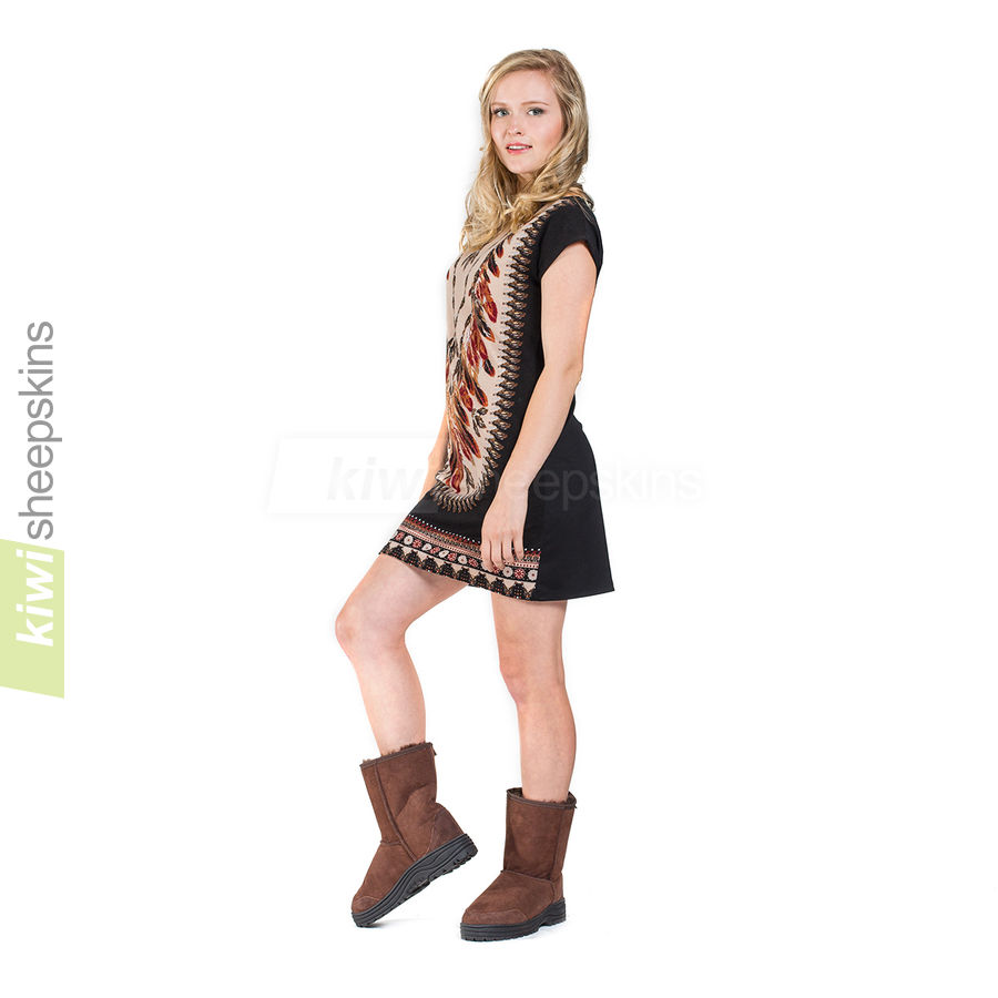 Woman wearing Mid Calf Ultimate boots in Chocolate color