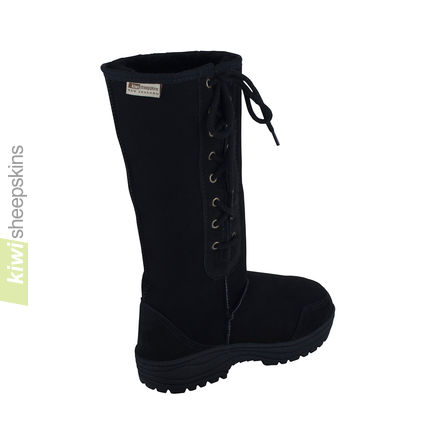 Tall side-laced sheepskin boot Black - rear view