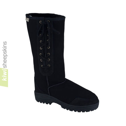 Tall side-laced sheepskin boot - Black color