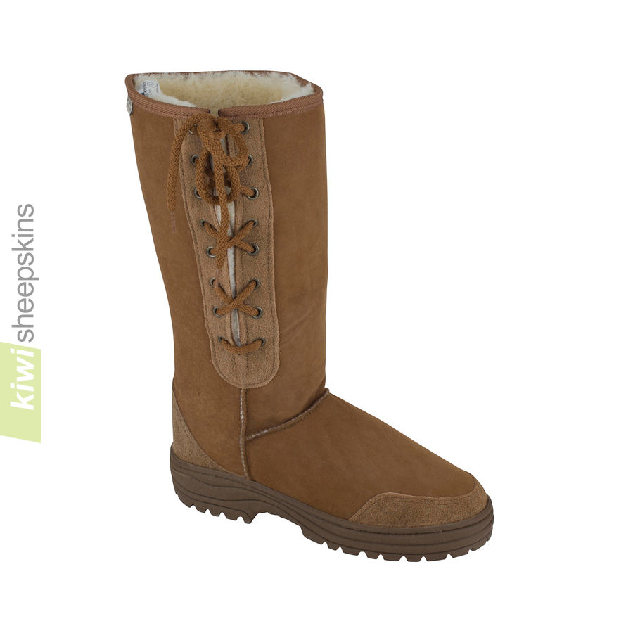 Tall side-laced sheepskin boot - Chestnut color
