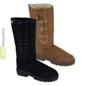 Tall laced sheepskin boots