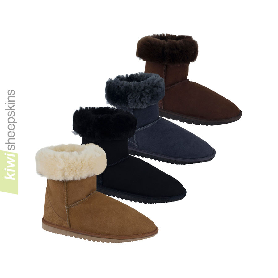 Mid height sheepskin boots with boot tops folded down