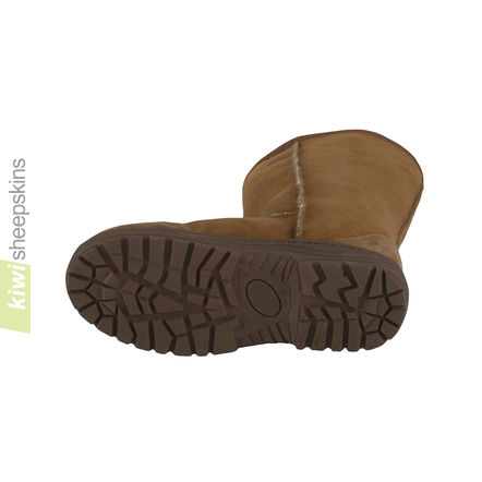 Extra wide calf sheepskin boots - chunky outdoor sole