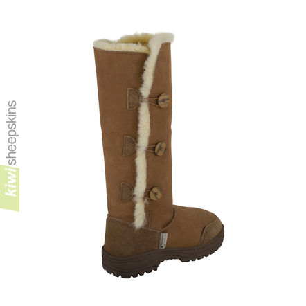 Tall Button Sheepskin Boots - rear view