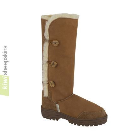 Tall Button Sheepskin Boots