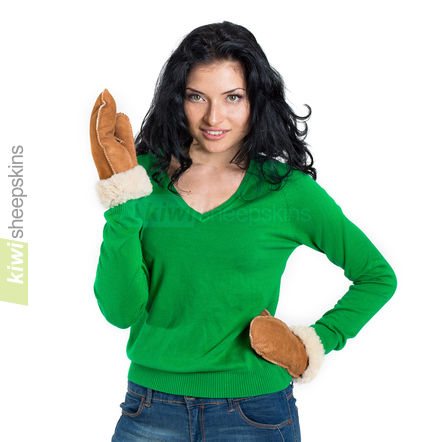 Sheepskin mittens modelled