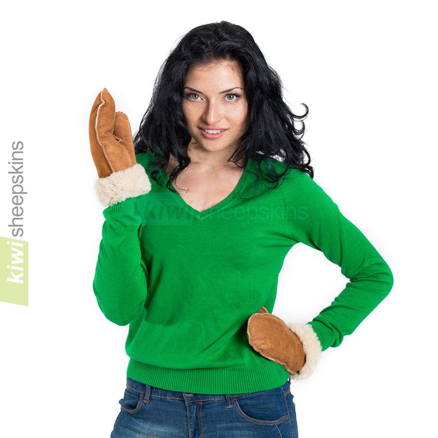 Sheepskin mittens modelled
