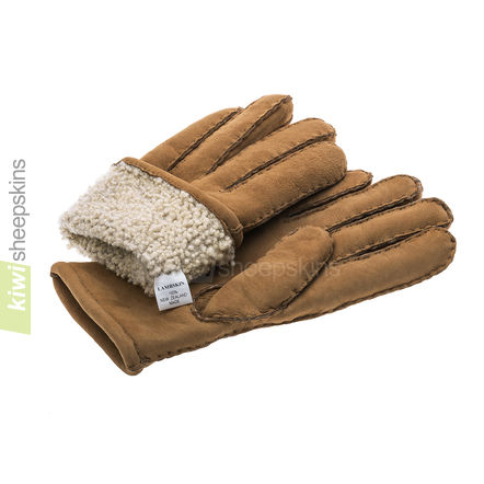 Gloves in Tan suede finish