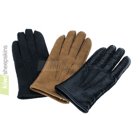 New Zealand made sheepskin gloves in Black, Tan and Black Nappa colors
