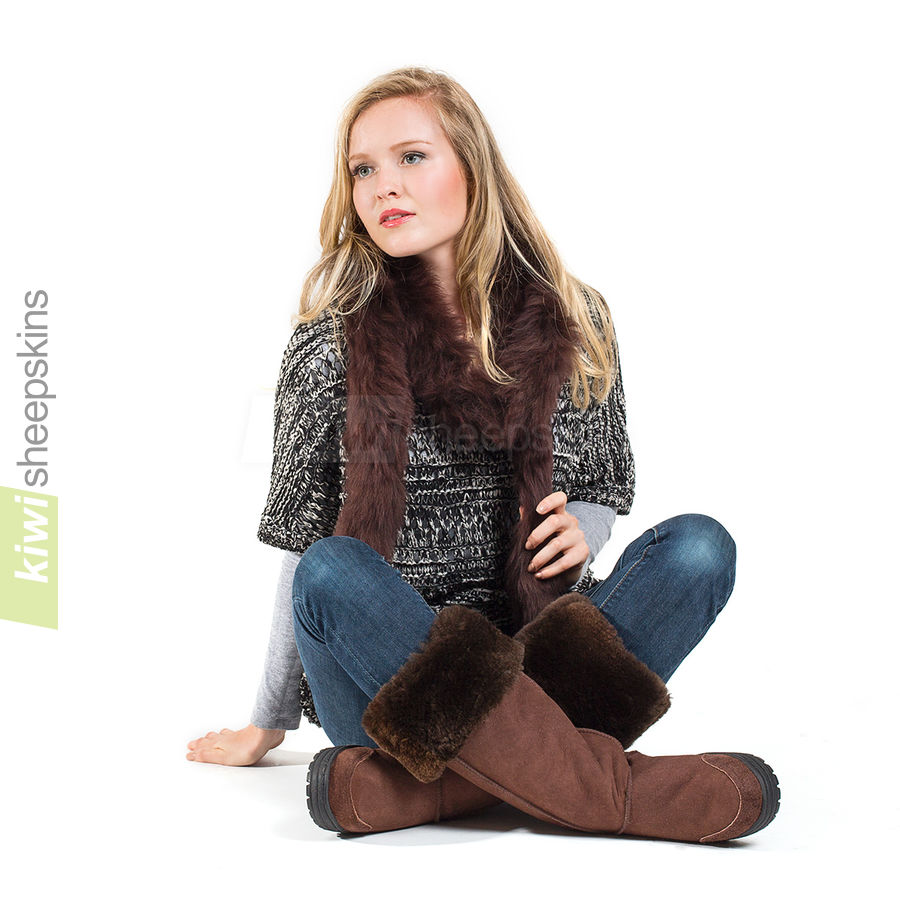 Sheepskin boa modelled with our Musketeer boots - Chocolate color