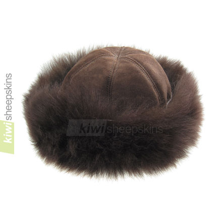 Ladies sheepskin hat - Natasha in Chocolate