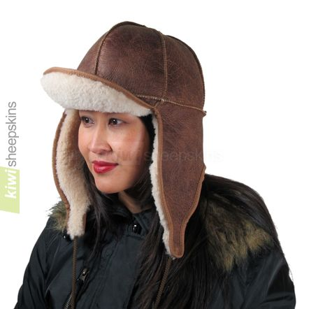 Sheepskin trapper hat woman - flaps down, peak up