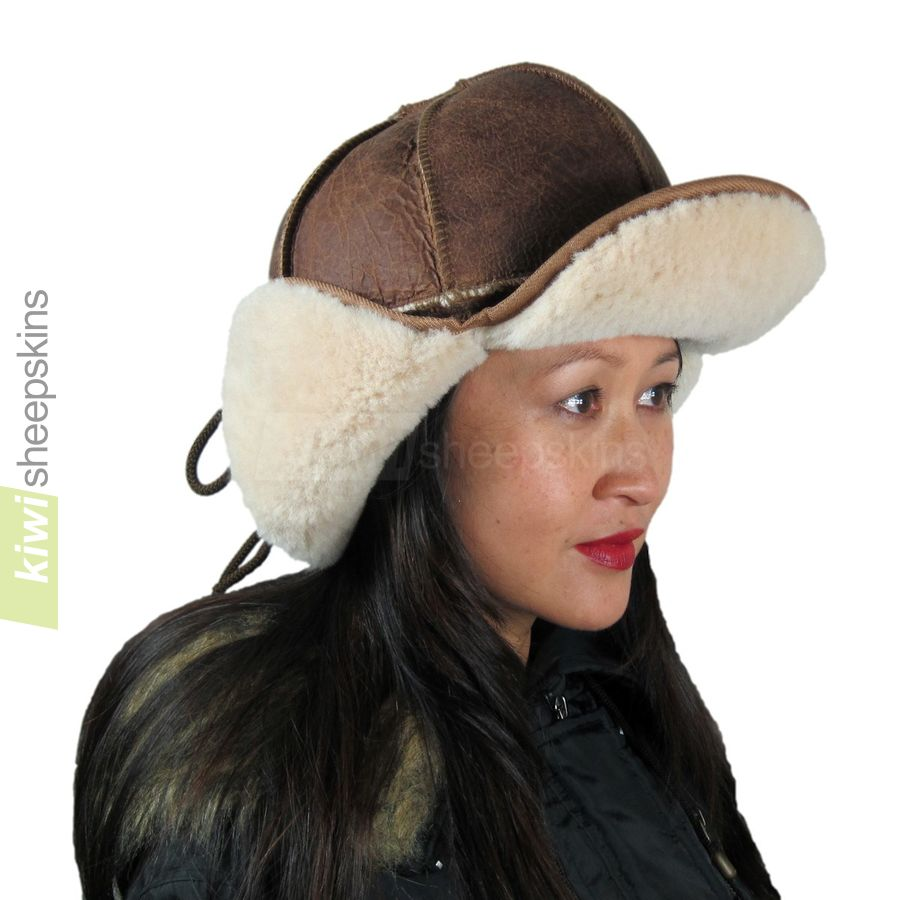Sheepskin trapper hat woman - flaps up, peak up