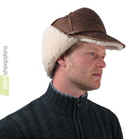 Sheepskin trapper hat man - flaps up, peak down