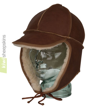 Sheepskin trapper hat - front view