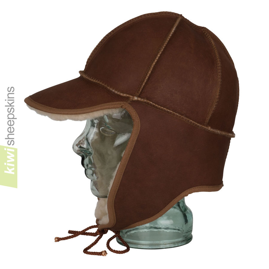 Sheepskin trapper hat - side view