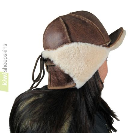 Sheepskin trapper hat woman - flaps up, peak up - rear view