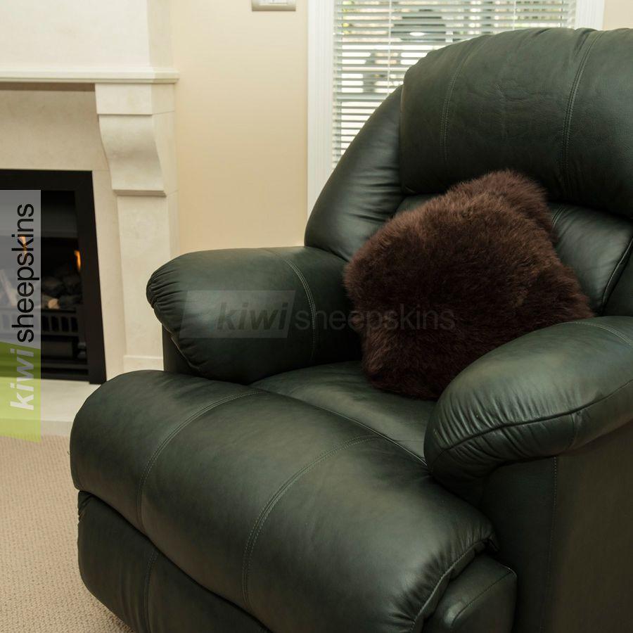 Chocolate sheepskin pillow/cushion cover