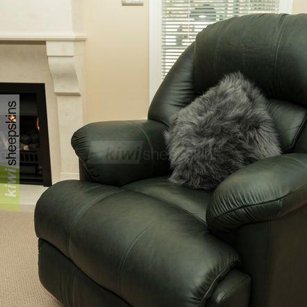 Grey sheepskin pillow/cushion cover