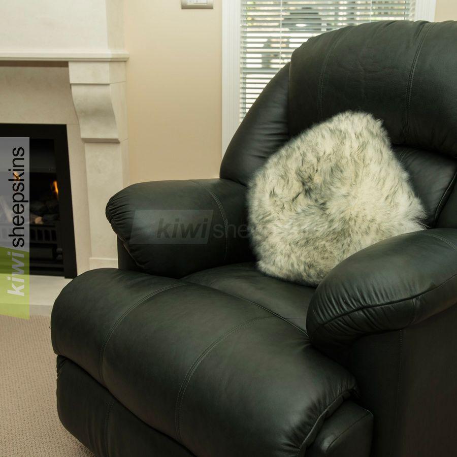 Grey Tip sheepskin pillow/cushion cover