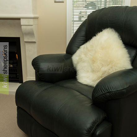 Ivory White sheepskin pillow/cushion cover