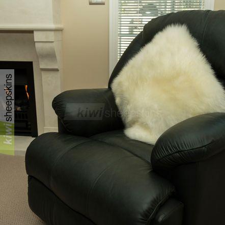 Large sheepskin pillow - Ivory White