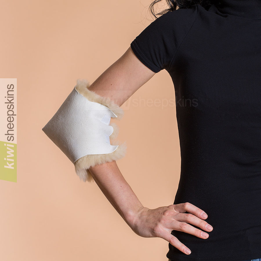 Medical sheepskin heel/elbow pad modelled on elbow