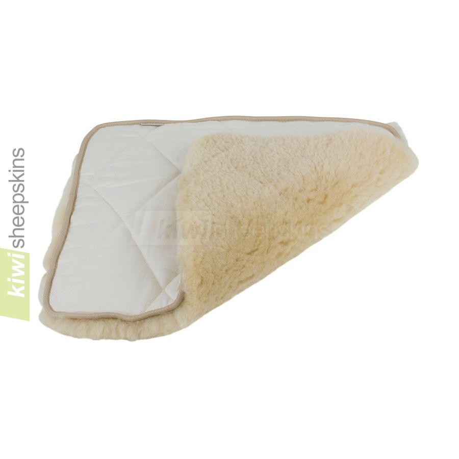 Padded medical sheepskin seat pad - close up view