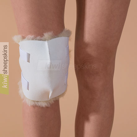 Sheepskin knee pad fitted to knee