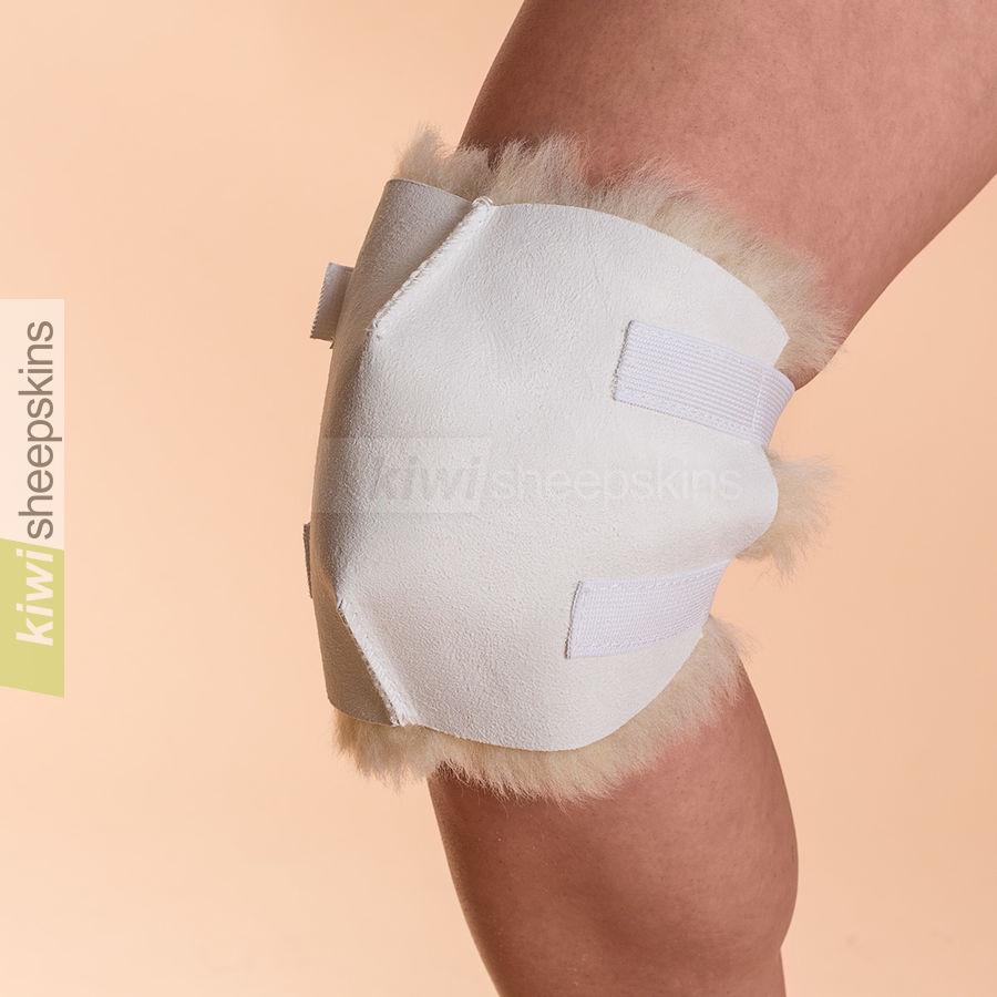Sheepskin knee pad - shape allows movement of knee joint